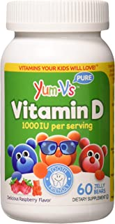 YUM-V's Vitamin D (1000 IU) Chewable Jellies (Gummies) for Kids, Yummy Berry Flavor (60 Ct); Daily Dietary Supplement with...