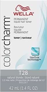 Wella Color Charm Permanent Liquid Hair Toner, T28 Natural Blonde, 1.4 fl oz