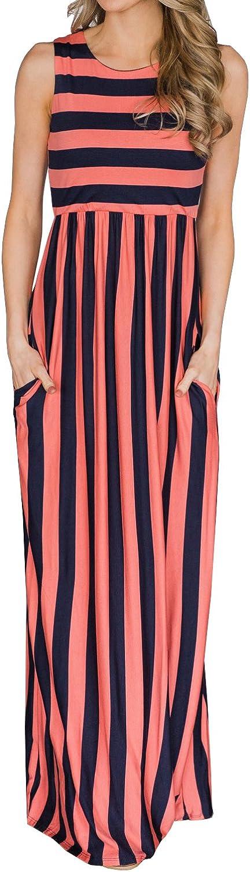 Huiyuzhi Womens Summer Striped Maxi Dress Sleeveless Empire Waist Pocket Long Dresses