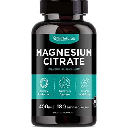 Magnesium Citrate Powder Capsules 400mg – [180 Count] Pure Non-GMO Supplements – Natural Sleep Calm Relax - Made in The USA