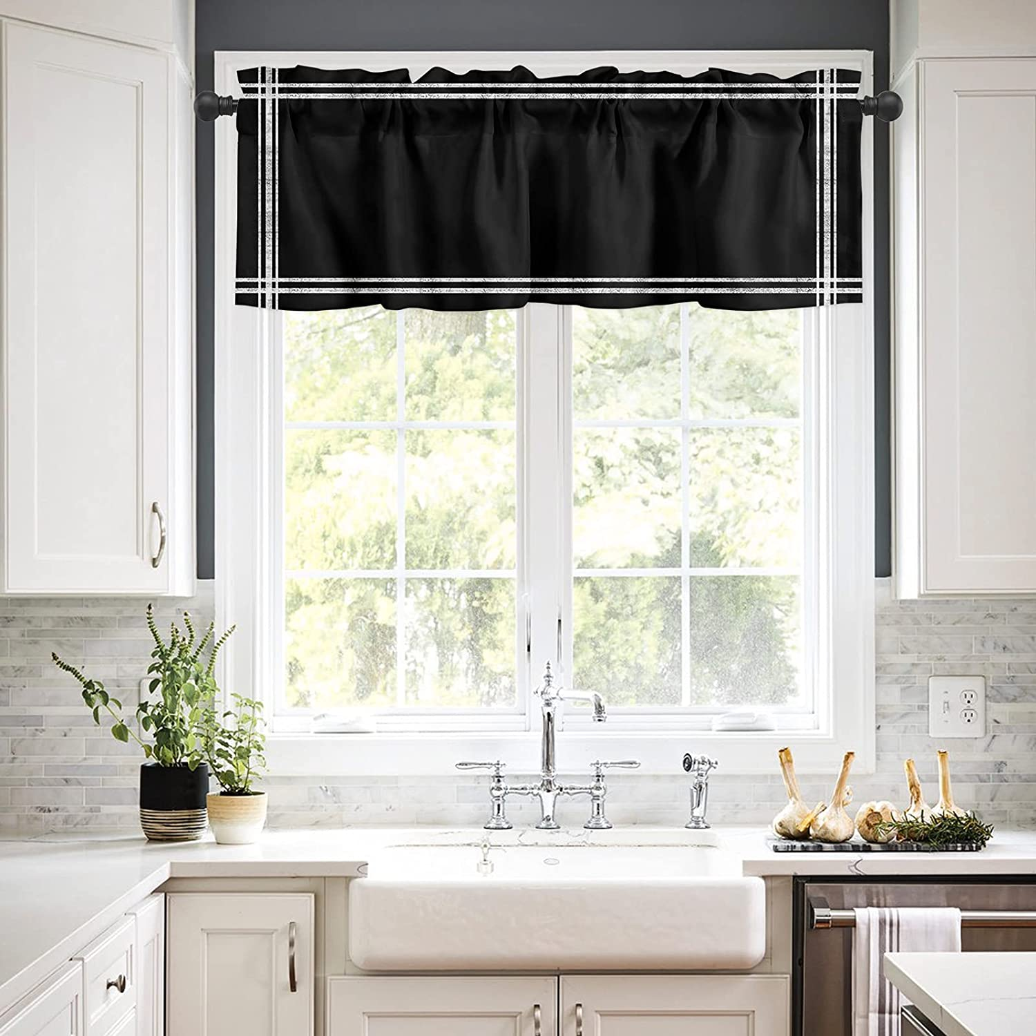 Rod Pocket Window Valances Curtains Solid Colo Black Tulsa Mall Kitchen High order for