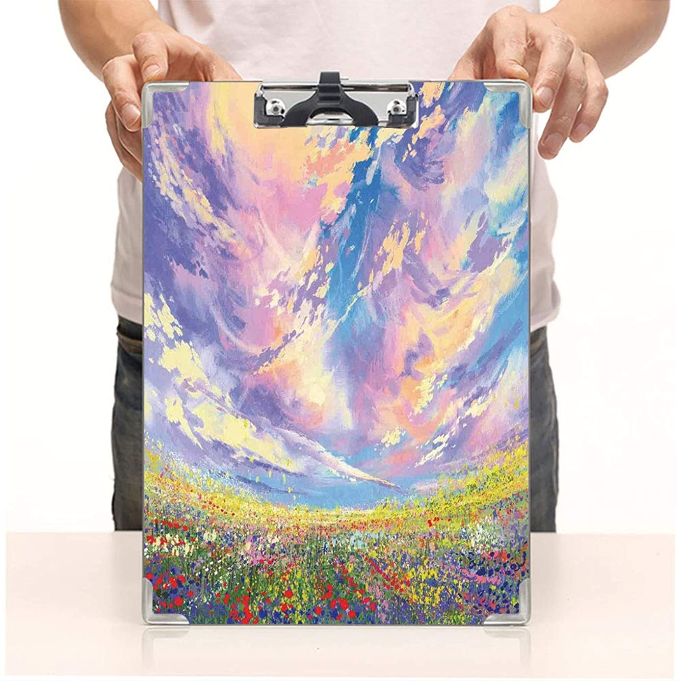 Custom Printing Clipboard,Hardboard Clipboard Pack,Under Surreal Dreamy Sky Floral Fresh Blooming,Office School Workers Business use