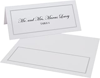 Documents and Designs Single Line Border Place Cards, Silver, Set of 60