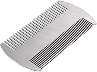 Beard Comb, Mustache Comb with Fine & Coarse Teeth for Men by HAWATOUR - Stainless Steel