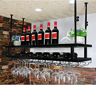 JFFFFWI casier à vin en Verre Casier à vin en Fer Support à Verre Suspendu Casier à vin Casier à vin Rouge Barre présentoi...