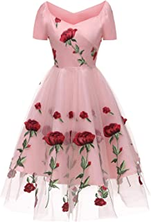 Women's Vintage Style Rose Embroidered 1950s Rockabilly Evening Party Lace Swing Tea Dress A Line Dresses