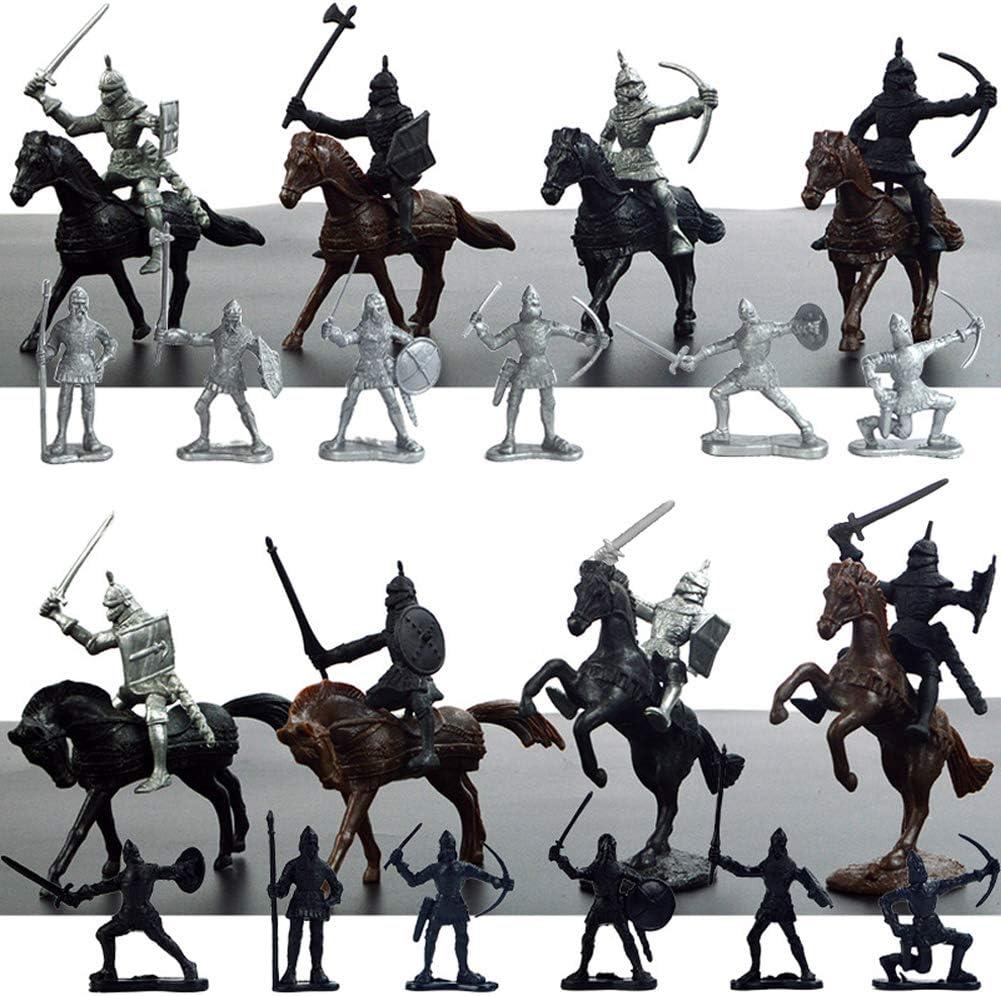 Modelo de soldado militar estático, Mini soldados medievales modelo de juguete para niños (12 soldados + 8 caballos + 8 caballeros) (modelo de soldado antiguo)