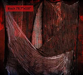 Halloween Creepy Scary Cloth Decorations - 78.7 x 118 Black Spooky Giant Gauze Cloth Spider Web for Halloween Party Haunted House Room Doorway Stairway Window Table Wall Doorways Entryways Cover
