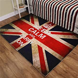 XiYunHan Non-Slip mat Banner Red, Blue and White Household Carpet 3D Carpet Door mat Bedroom Hall Living Room Foot pad Rectangle (Color : A, Size : 80120cm)