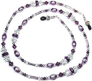 Amethyst Austrian Crystal / Purple Laser Cut Bead Mix Eyeglass Chain