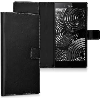 kwmobile Hülle kompatibel mit Sony Xperia Z Ultra - Kunstleder Wallet Case mit Kartenfächern Stand in Schwarz