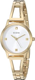 GUESS Women's Analog Watch with Stainless Steel Strap, Gold, 12 (Model: GW0003L2)