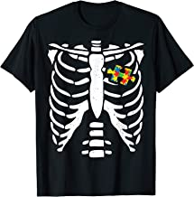 Autism Halloween Costume Puzzle Skeleton Bone Rib T-Shirt