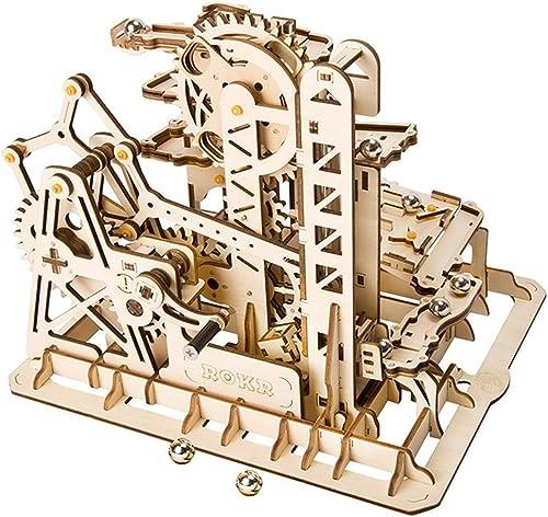 LHYP 3D-Holz Puzzle Mit Zahnrad-Hand-Craft-Tracks Mit Zubeh Mechanische ModellbauSätze, Geburtstag Kindertage Ostern (Tower Coaster)