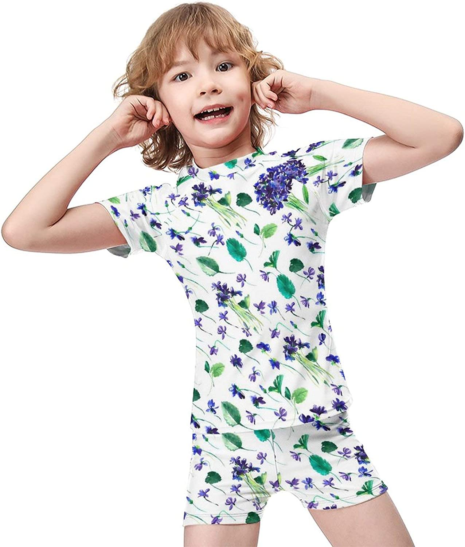 Floral Boys Two Piece Swimsuits Kids Short Sleeve Sunsuit UPF 50+ Swimwear Sets