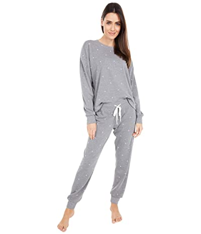 P.J. Salvage Flocked Fleece Lounge Set (Heather Charcoal Grey) Women