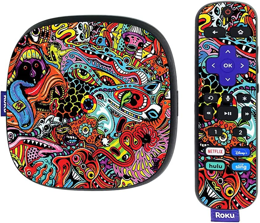 MightySkins Skin Compatible with Roku Ultra HDR 4K Streaming Media Player (2020) - Acid Trippy | Protective, Durable, and Unique Vinyl Decal wrap Cover | Easy to Apply | Made in The USA