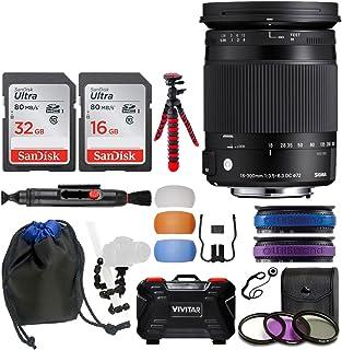 Sigma 18–300mm f / 3.5–6.3DCマクロOS HSM Contemporaryレンズfor Nikon F + 32GB & 16GBメモリカード+レンズポーチ+ 72Mm Uvフィルタキット+ 10インチSpider三脚+ Deluxe Accessory Bundle