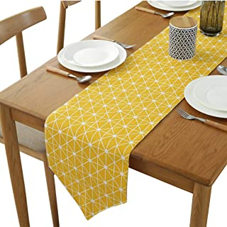 YETOOME Cotton Linen Diamond Checkered Table Runner for Kitchen Dining Living Room, Foyer Table, Summer Parties, Wedding P...