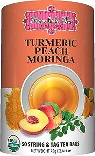Brew La La Organic Turmeric Caffeine Free Herbal Tea -Peach Moringa Flavor - 50 Tea Bags