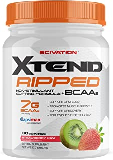 Xtend Ripped Bcaa Powder Strawberry Kiwi | Cutting Formula + Sugar Free Post Workout Muscle Recovery Drink with Amino Acids | 7g bcaas for Men & Women | 30 Servings