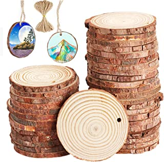 Unfinished Wood Circles with Barks Used for Christmas Centerpieces- 40pcs 1.9-2.4 inch Natural Wood Slices with Holes and 33 Feet Jute Twine