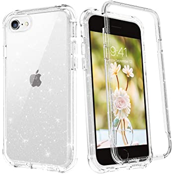 BENTOBEN iPhone SE 2020 Case, iPhone 8 Case, iPhone 7 Case, Glitter Heavy Duty Shockproof 2 in 1 Hard PC Soft TPU Bumper Protective Cases for New iPhone SE 2020 / iPhone 8 / iPhone 7, Crystal Clear