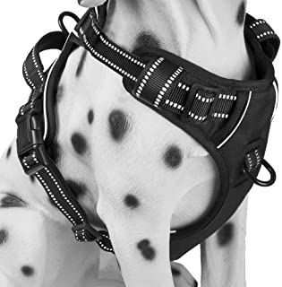 WapaW Dog Harness No-Pull Pet Harness Adjustable Outdoor Pet Vest 3M Reflective Oxford Material Vest for Dogs Easy Control for Small Medium Large Dogs (XL, Black)