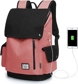 WindTook Canvas Backpack Daypack 15 Zoll Laptop Rucksack Schulrucksack Tagesrucksack mit USB Anschluss für Uni Büro Alltag Freizeit, Rot