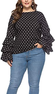Womens Bell Sleeve Plus Size Loose Polka Dot Casual Top,3XL-5XL