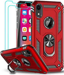 LeYi Case for Apple iPhone XR Cell Phone Case with Tempered Glass Screen Protector, Ring Kickstand for Men Military Bumper...