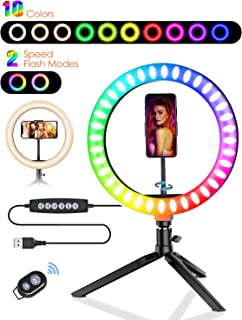 """10.2"""" Ring Light with Stand, BlitzWolf RGB LED Ring Light with Stand and Phone Holder with 10 RGB Colors & 10 Brightness L..."""