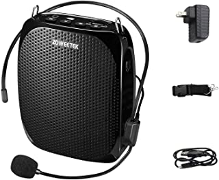 ZOWEETEK Portable Rechargeable Mini Voice Amplifier with Wired Microphone Headset and Waistband, Supports MP3 Format Audio...