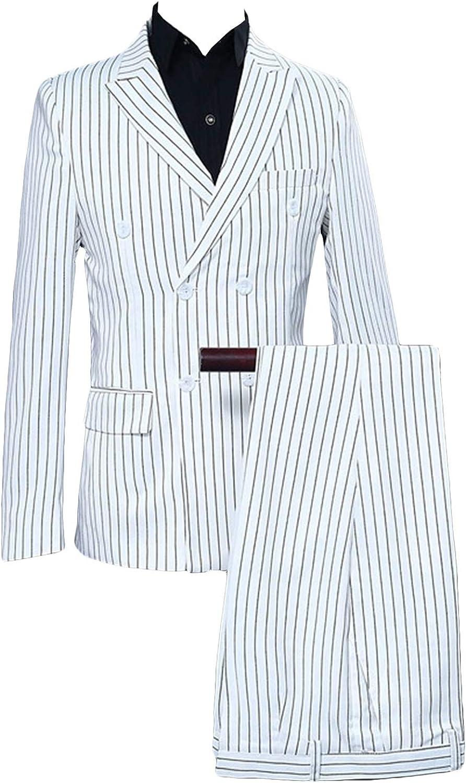 P&G Men's Stripes Suit DoubleBreasted PeakLapel Jacket Pants Wedding