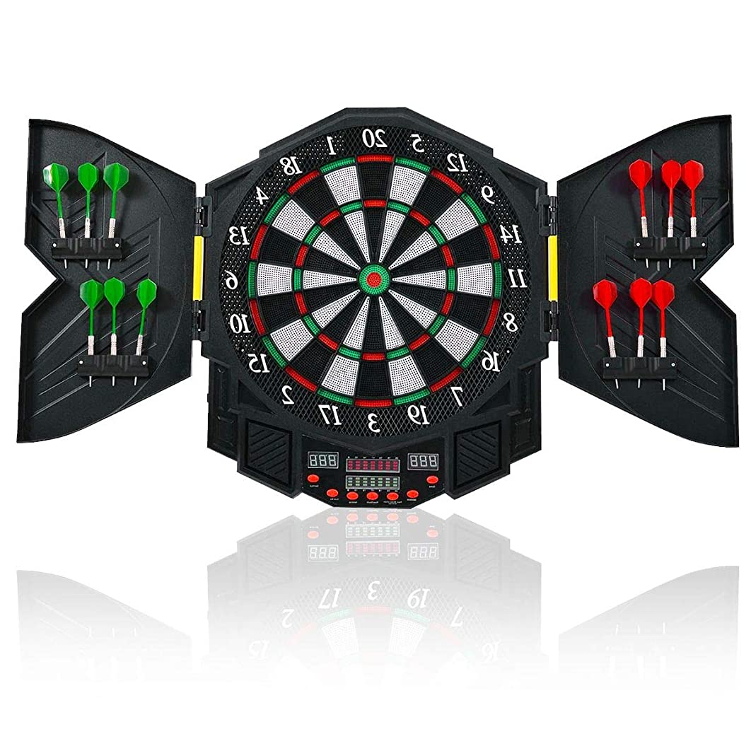 Aromzen Professional Electronic Dartboard Cabinet Set w/ 12 Darts Game Room LED Display