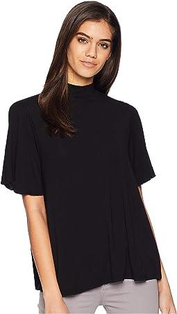 Jersey Lycra Short Sleeve Mock Neck Top