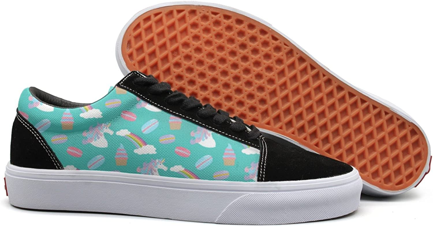 Feenfling Ice Cream Teal Unicorn Rainbow Hot Dog Womens Flat Canvas Deck shoes Low Top Best Sneakers shoes for Women