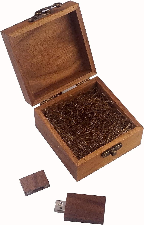 LONMAX 16GB Walnut Wooden Birthday Wedding USB Flash Drive Gift USB 2.0 Thumb with Gift Box (16GB, HF+HTMFH)