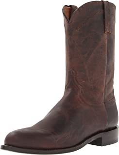حذاء رجالي برقبة لركوب الخيل من Lucchese Bootmaker Men's Shane-Chocolate Madras Goat Roper