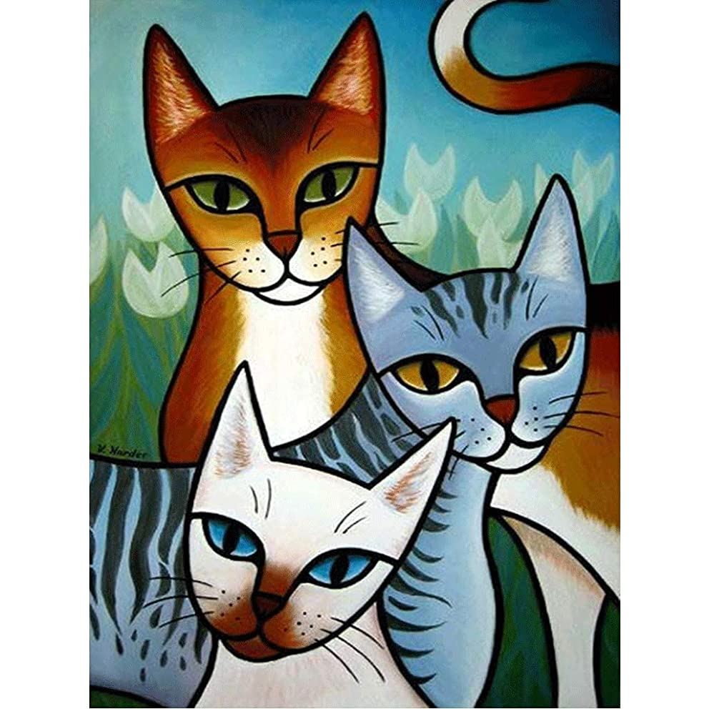 5D Diamond Painting Kit,Painting Diamonds Drills,5d Crystal Diamond Painting Abstract cat Rhinestone Embroidery Cross Stitch Kits Supply Arts Craft Canvas Wall Decor Stickers Home Decor 12x16 inches