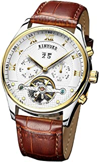 Lovoski Men Automatic Mechanical Watch Calendar Week Wristwatch With Brown Leather Band Strap - Multi-function
