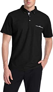 TIESOME Men's Long Sleeve Polo Shirt Slim Fit Contrast Color Golf Shirts