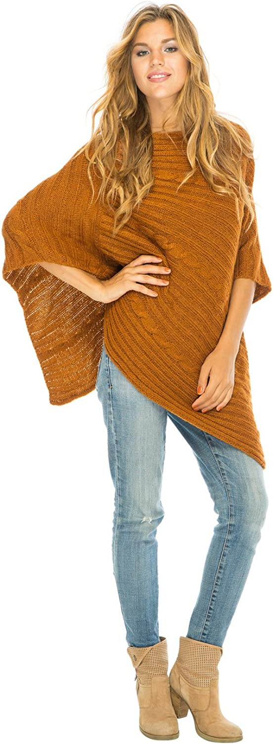 Back From Bali Womens Cable Knit Poncho Sweater Cape Boho Soft Casual