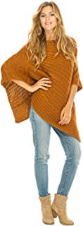 Womens Cable Knit Poncho Sweater Cape Boho Soft Casual
