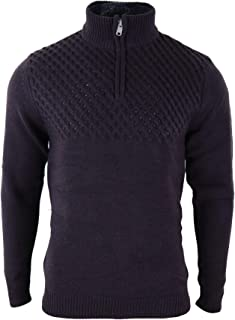 Mens Zip Polar Neck High Chunky Wool Feel Smart Casual Jumper Top