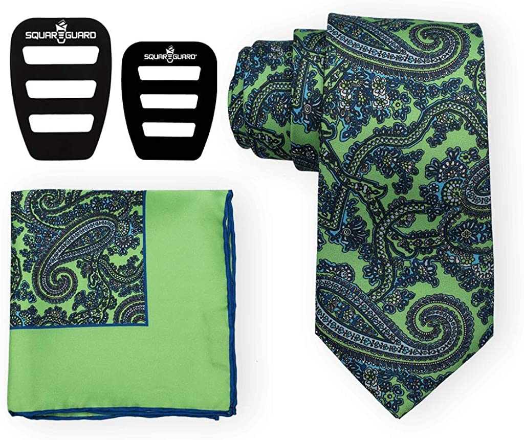 Paisley Jade Tie Set Includes Tie, Pocket Square & Two SquareGuards