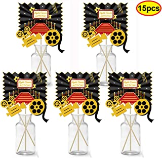 BUSOHA 15pcs Red Carpet Hollywood - Movie Night Party Centerpiece Sticks/Table Toppers for Hollywood Movie Party Decoration,Movie Theme Photography Backdrop, Table Decorating kit