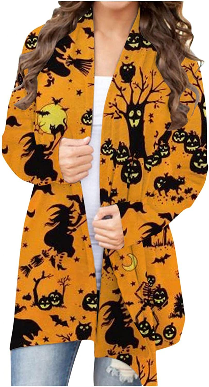 Sweaters for Women Open Front, Halloween Cardigan Long Sleeve Cardigan Funny Pumpkin Black Cat Ghost Lightweight Coat