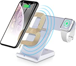 2 in 1 Wireless Charger Stand, CNSL Wireless QI Fast Charging Station, Watch Charger Dock, Compatible for Apple iWatch 1/2/3/4,iPhone 8/X/XS/XR,Samsung Galaxy S9/S8 and All Qi Enabled Devices (White)
