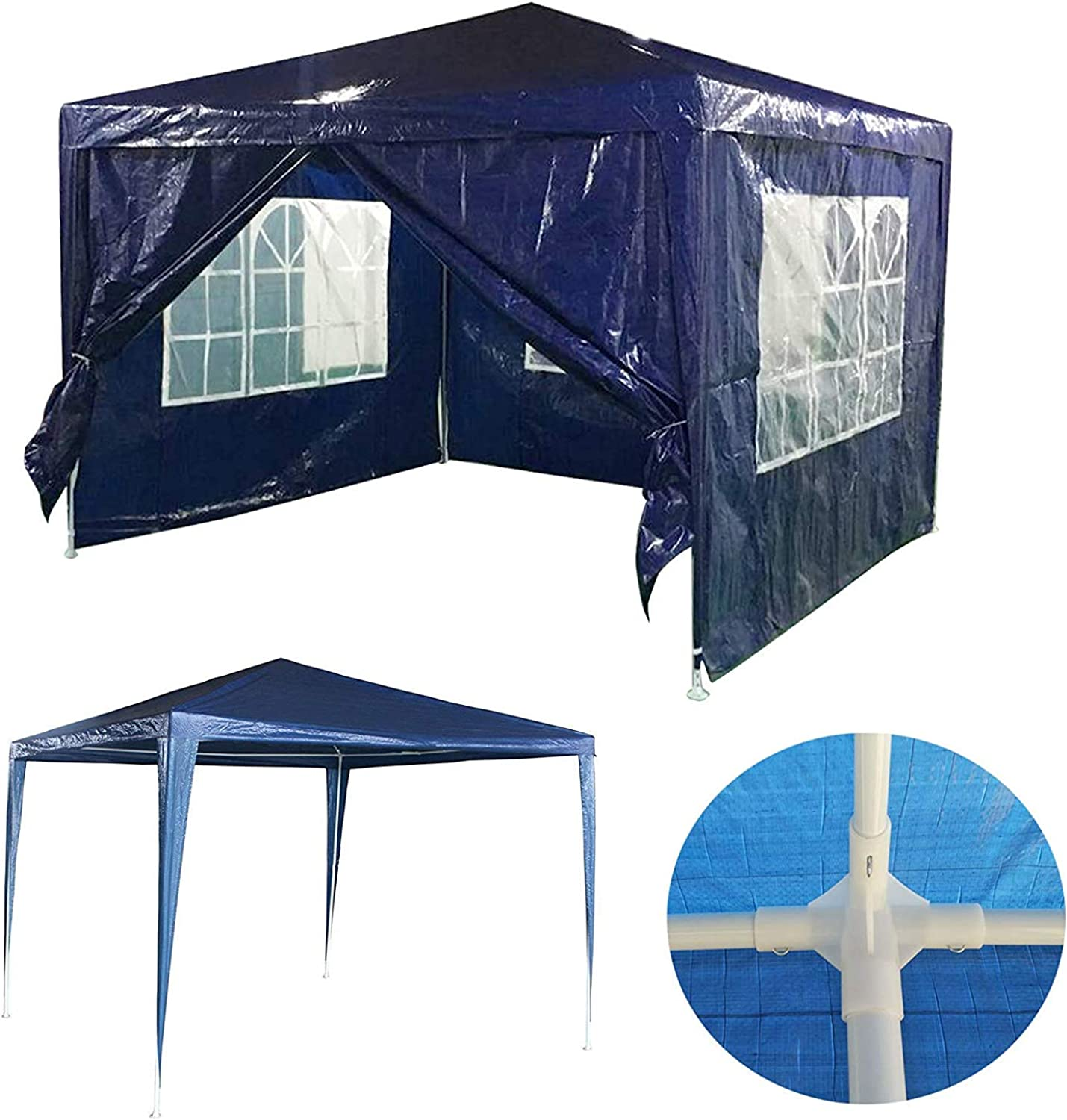 Gazebo 3x3 Meters with 4 Removable Sidewalls Outdoor Garden Party Tent,Waterproof UV Predection Awning Canopy,Steel Frame Polyethylene Cover Shelter